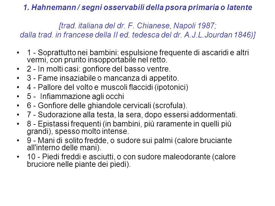 1. Hahnemann / segni osservabili della psora primaria o latente [trad